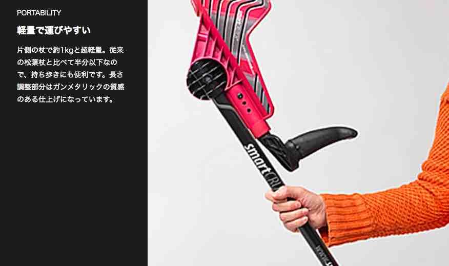 女の子が片手で持てる軽量設計の松葉杖