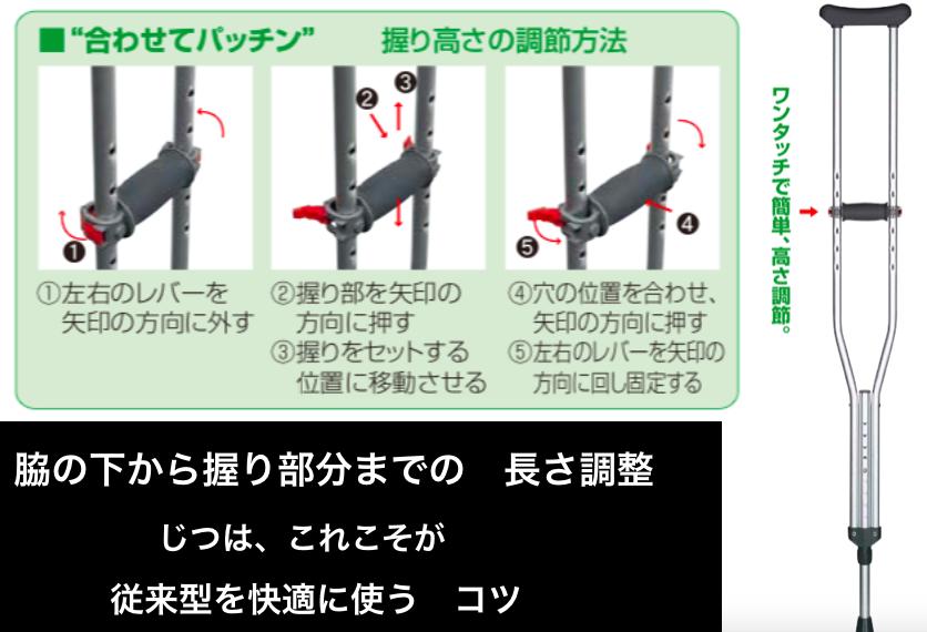 「合わせてパッチン」という松葉杖の、握り部分を簡単調整できる機能を解説している画像