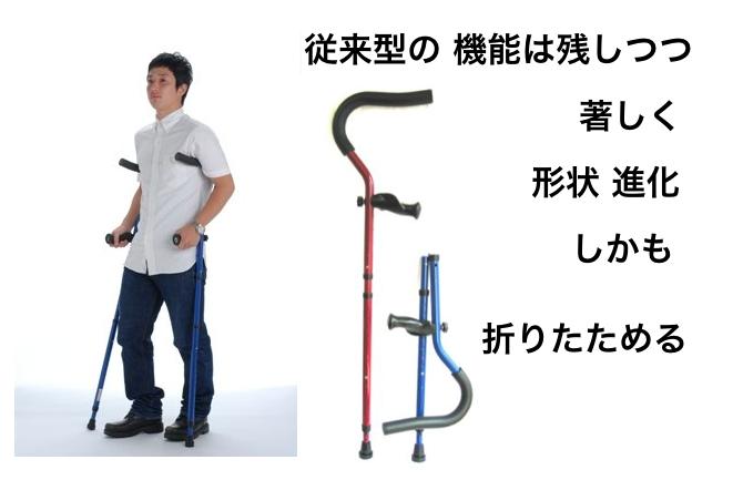従来型松葉杖のハイパー進化型「ミレニアル・プロ」の形状と、折りたためる杖であることを説明したバナー