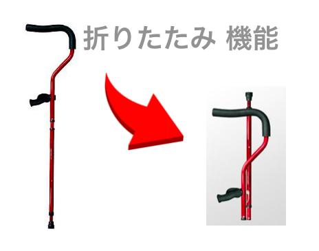 ハイパー松葉杖「ミレニアル・プロ 」の折りたたみ機能。折りたたむと半分ほどのサイズになる。これで、電車、バス、飛行機などへの持ち込みも楽になる、という解説画像。